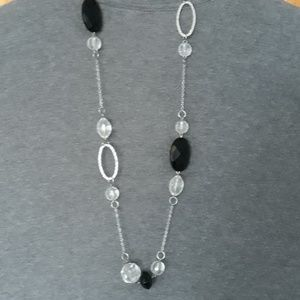 Opera Necklace Black & Clear Facet Beads on Silver
